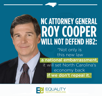 AG Cooper will not defend HB2. Repeal HB2 immediately