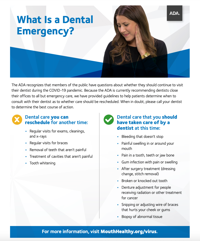 what is a dental emergency during covid-19